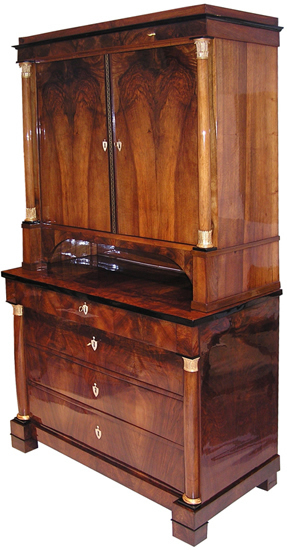 Biedermeier commode with top piece